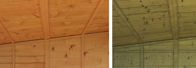 summer house eaves showing slanting roof