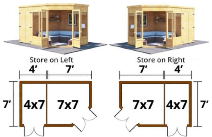 left or right corner configurations with plan view