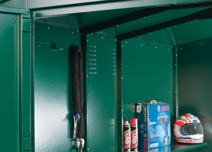 Storage shelves for helmet and other accessories
