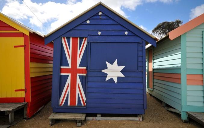 blue australian flag beach hut, brighton beach melbourne