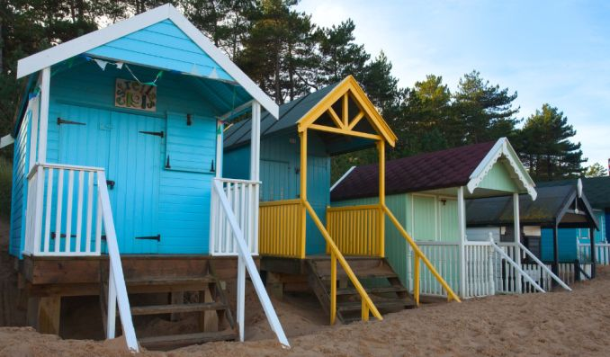 elevated beach huts at holkham nature reserve near kings lynn