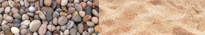 pebbles or sand
