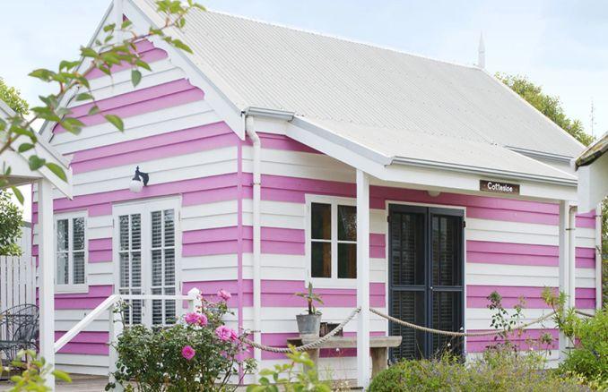 pink striped beach house