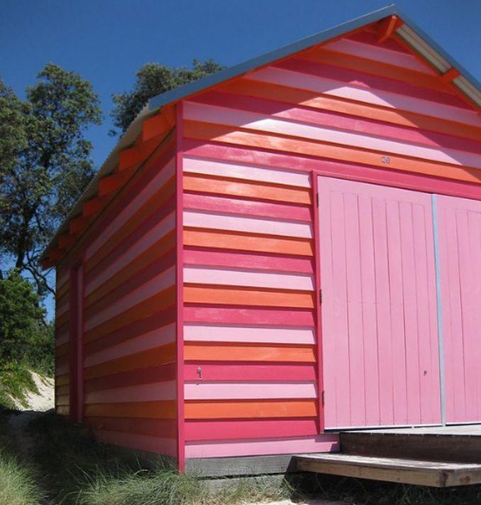 pink striped beach hut