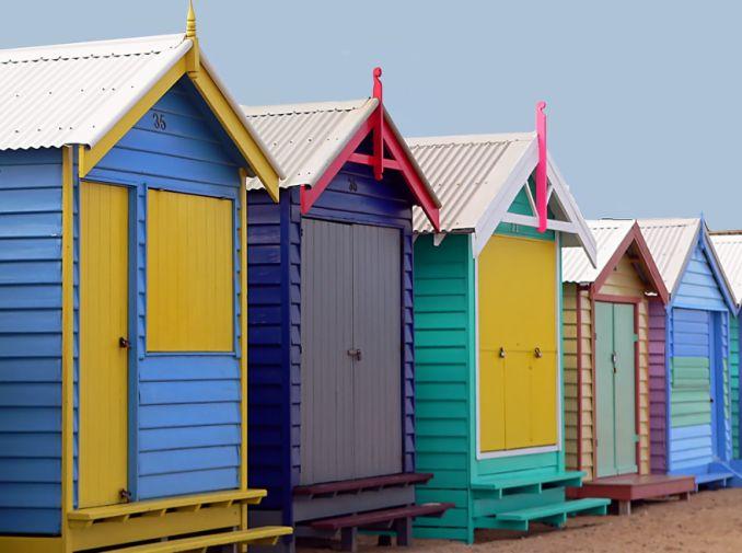 row of five bathing boxes brighton beach melbourne