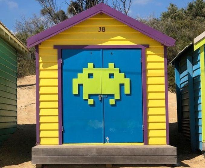 space invaders beach box brighton beach