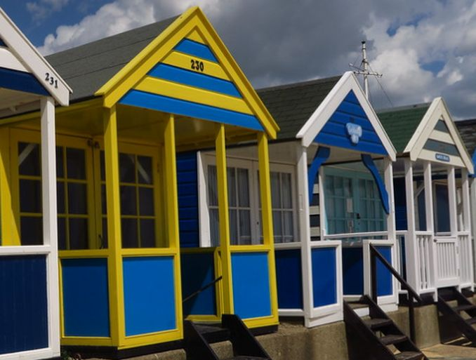 swedish flag beach hut