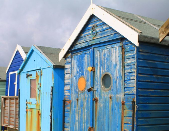 weathered blue shed