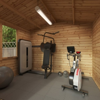 small log cabin home gym