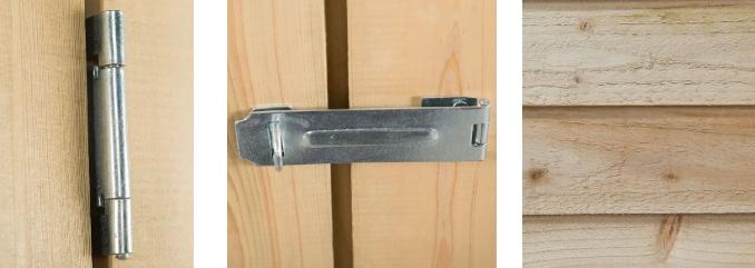 storage hinge latch and wood