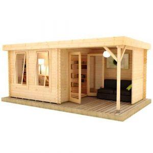 Lakra Log Cabin with Side Gazebo